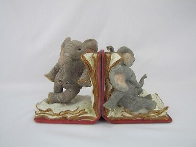"RARE Tuskers Elephant Bookends - ""Stretch and Strain"""