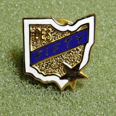 OES Fifty Lapel Pin ? Order Of The Eastern Star Ohio State Shaped 50 Years