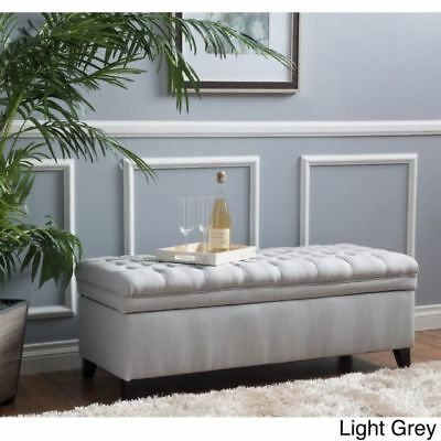 Cool Stylish Upholstered Storage Bench Light Grey Tufted Lift Top Gmtry Best Dining Table And Chair Ideas Images Gmtryco