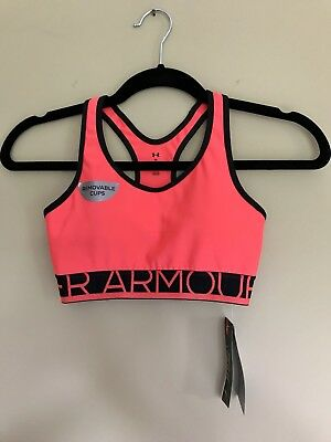 Under Armour Womens XS Compression Sports Bra, Padded, Pink Heat Gear Fabric NWT