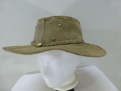 4d4285fd75b Genuine tan Leather Mexico bucket fringe Hat cap hobo fishing lid mens sz  Large