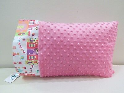 NWT Princess Castle Pink Minky Dot Girl Toddler Pillowcase 12 x 16 Fantasy