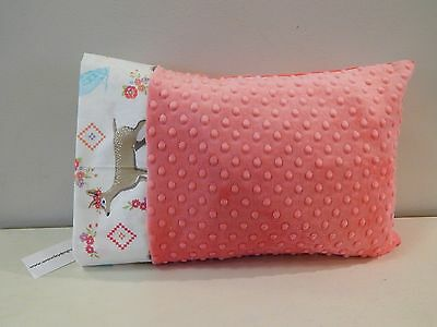 NWT Coral Deer Woodland Forest Minky Dot Toddler Pillowcase 12x16 Girl Owl Fox