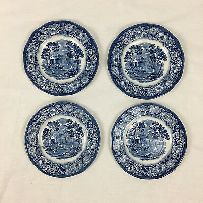 "4 Staffordshire Liberty Blue Bread & Butter 6"" Plates Monticello"
