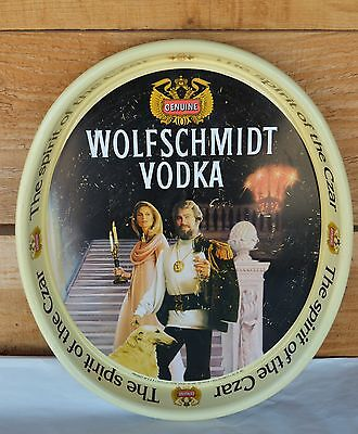 VTG 1980s Oval WOLFSCHMIDT VODKA Metal Drink Serving Tray Spirit of the Czar
