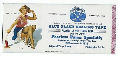 Vintage Theodore R. Osuch Blue Flash Sealing Tape Plain And Printed Ink Blotter