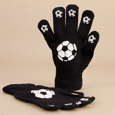 Kids Soccer Football Black Knitted Gloves Boys Girls Teens 8 to 12 yrs Stretchy