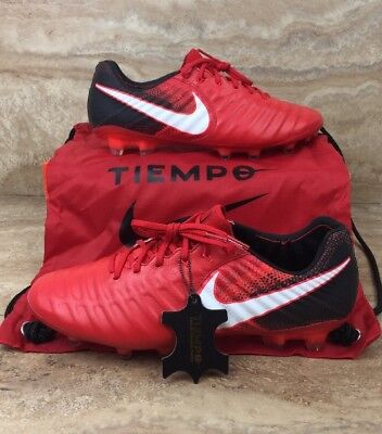official photos dcfcd 0f5a8 NIKE TIEMPO LEGEND VII 7 FG Leather Fire Red Black Soccer Cleats