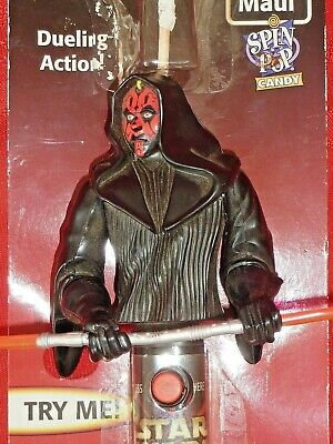Star Wars Episode1 Darth Maul SPIN TOP CANDY DUELLING ACTION FIGURE WORKS NIP H7