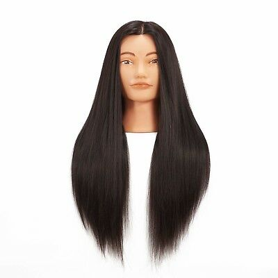 Cosmetology Mannequin Head Human Hair Hairdressing Training Design Doll Black
