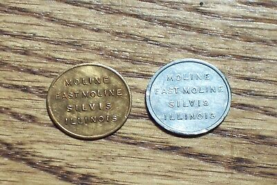 Moline Illinois Sales Tax Token Lot of 2 Bronze + Aluminum