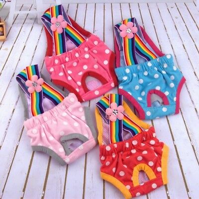 Female Dog Puppy Polka Dots Suspender Diaper Pants Physiological Sanitary Panty