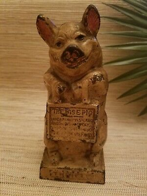 The Wise Pig metal coin piggy bank antique vintage