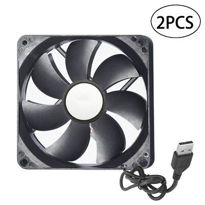 2xBlack USB Cooling Fan Silent Fan For Computer Case PC CPU Case 5V 120x120x25mm
