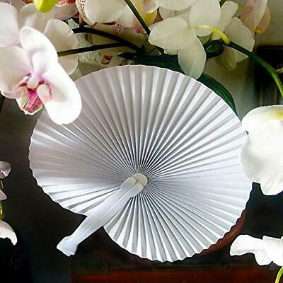 "9"" White Chinese Folding Accordion Paper Hand Fan for Weddings (10 Pack)"