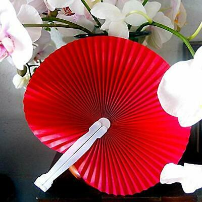 "9"" Red Chinese Folding Accordion Paper Hand Fan for Weddings (10 Pack)"