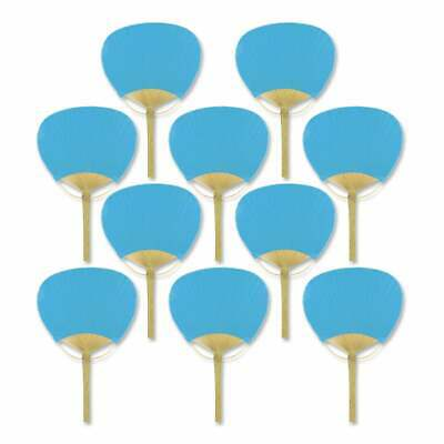 """9"""" Turquoise Paddle Paper Hand Fans for Weddings (10 Pack)"""