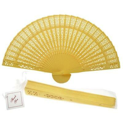 "8"" Yellow Chinese Folding Wood Panel Hand Fan w/ White Organza Bag for Weddings"
