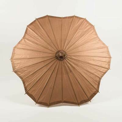 "32"" Brown Paper Parasol Umbrella, Scallop Shaped"