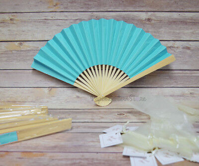 """9"""" Turquoise Premium Paper Hand Fan w/ Organza Bag (Combo 10 Pack)"""