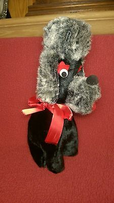 "Vintage 14"" BLACK GRAY FRENCH POODLE plush stuffed animal toy"