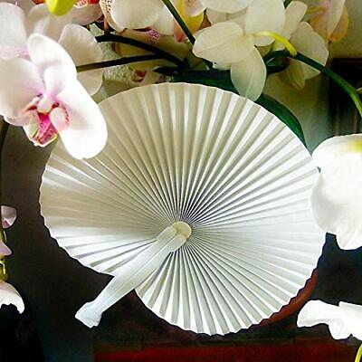 """9"""" Beige / Ivory Chinese Folding Accordion Paper Hand Fan for Weddings (10 Pack)"""