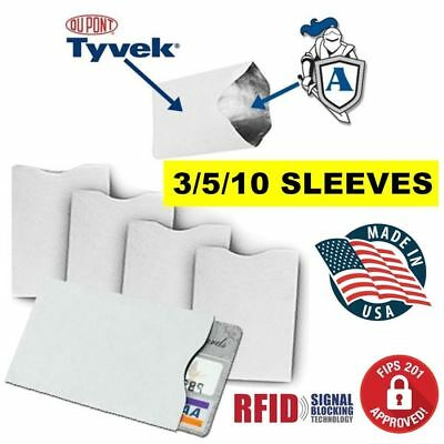 RFID Blocking Credit Card (DuPont TYVEK) Sleeves for Wallet FREE SHIPPING
