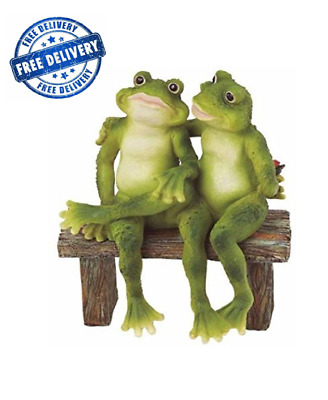 2 Frogs Figurine Statue Bench Outdoor Decor Yard Home Lawn Gift Model Garden New