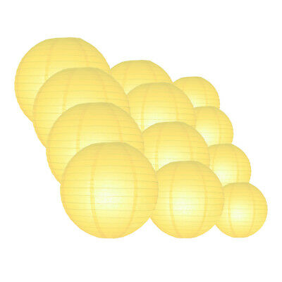 12-PC Lemon Yellow Paper Lantern Assorted Decoration Combo Set, 12/10/8-Inch
