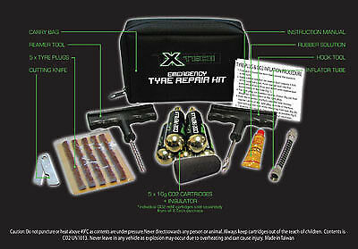 Xtech Emergency Tyre Repair Kit Inc 5 X Co2 Cartridges - Amazing Valve