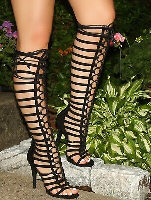 c71848a758b Black Strappy Lace Up Front Open Toe Knee High Gladiator Bootie Heels