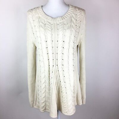 CABI SIZE MEDIUM  3157 Cable Long Sleeve Lace Up Back Sweater Ivory ... 63eec43d9
