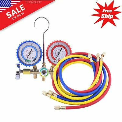 R134a R22 AC A/C Manifold Gauge Set 4FT Colored Hose Air Conditioner US-OY