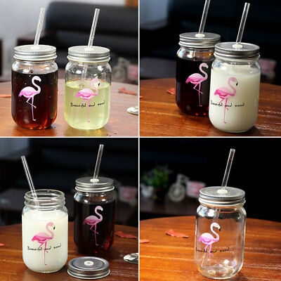 Glass Cup Beverage Mug with Lid Straw Fruit Cold Drinking Juice Cups Pro  Prof