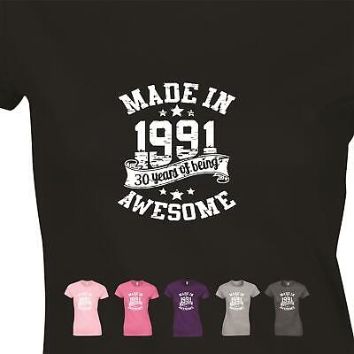 Awesome Made In 1989 Vintage Ladies Present Womens GIft 30th Birthday T shirt