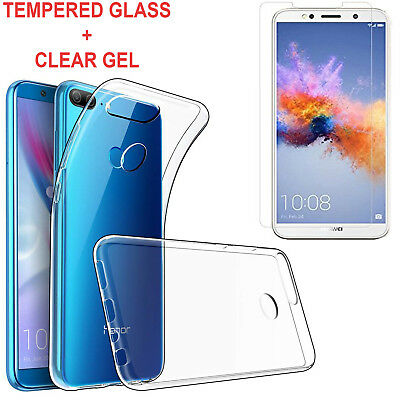 For Huawei Honor 9 Lite Ultra Thin Clear TPU Gel Case + Tempered Glass
