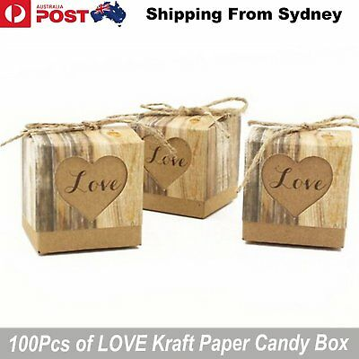 100Pcs LOVE Wedding Gift Bag Kraft Paper Candy Box Party Shower Case Bow DIY Dec