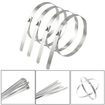 10PC Stainless Steel Metal Cable Tie Zip Wrap Exhaust Heat Straps Induction Pipe