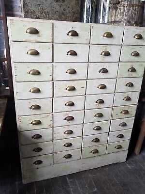 36 Drawer Painted Antique Apothecary Cabinet General Store