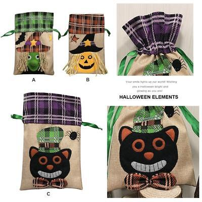 Halloween Pumpkin Cute Canvas Bags Drawstring Pouches Sack Party Candy Gift Bags