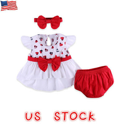 US Summer Baby Girl Kids Tops Dress+Shorts Bloomers+Headband Clothes Outfit Set
