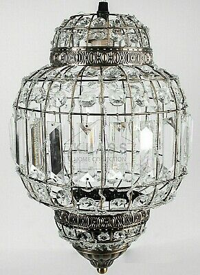 Classic Moroccan Lantern Style Antique Brass Clear Acrylic Ceiling Light Shade