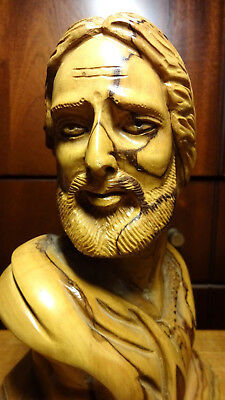 Antique wooden hand carved Bust of Jesus the Saviour statue figurine olive wood