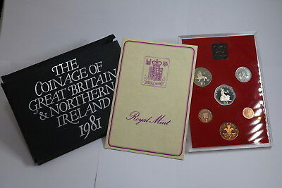 Uk Gb 1981 Proof Coin Set + Paperwork A88 Rcg27