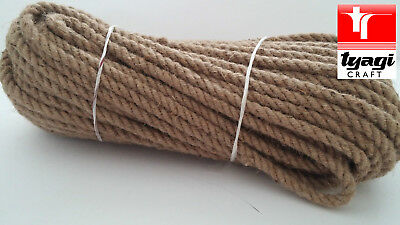 10 mm Natural Jute Hessian Rope Cord Braided Twisted Boating Sash Garden Decking