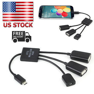 3 in 1 Micro USB OTG Hub Extension Adapter Charging Cable Android Phone Tablet