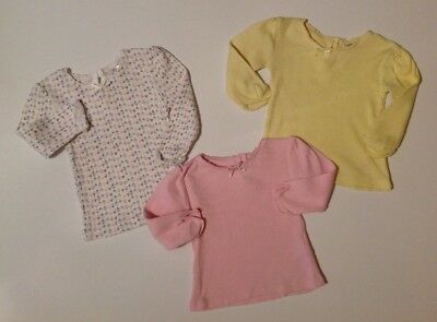 F&F Baby Girl X3 White Pink & Yellow Long Sleeve T-shirt Bundle 0-3 Months Tops