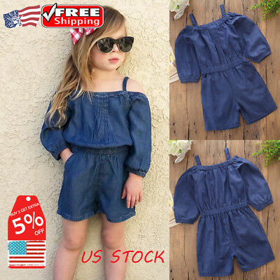 Newborn Kids Baby Girls Denim Jeans Off Shoulder Jumpsuit Sunsuit Shorts Clothes