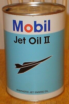 Old Vintage Mobil Jet Engine Oil II All Tin Quart Can Concorde Airplane Graphics