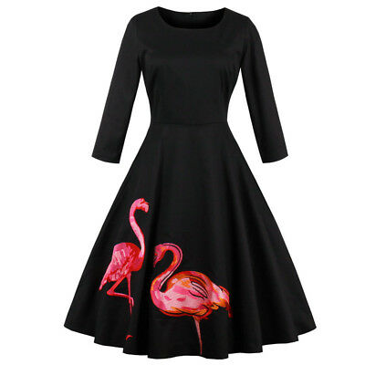 1950s Flamingo Printed Womens Long Sleeve Retro Cocktail Pinup Swing Party Dress